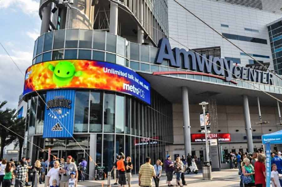 large led sign in front of Amway center