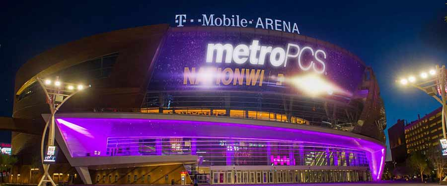 led sign in front of t-mobile arena