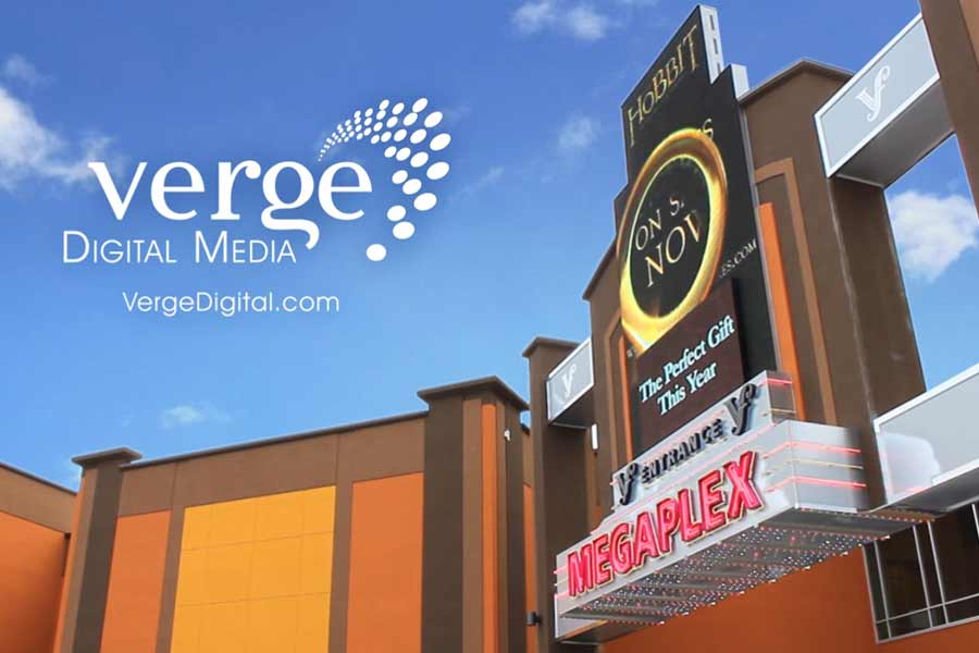 large verge digital media sign in front of megaplex movie theatre